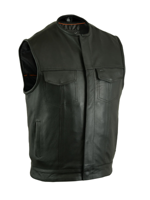 Wholesale Men's Leather Vests | DS181A Concealed Snap Closure, Milled Cowhide, Without Collar & Hidden Zipper