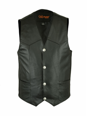 Wholesale Men's Leather Vests | DS115 Traditional Single-Back-Panel Vest