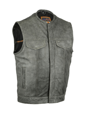 Image DS191V Concealed Snaps, Premium Naked Cowhide, Hidden Zipper, w/o Collar - Gray